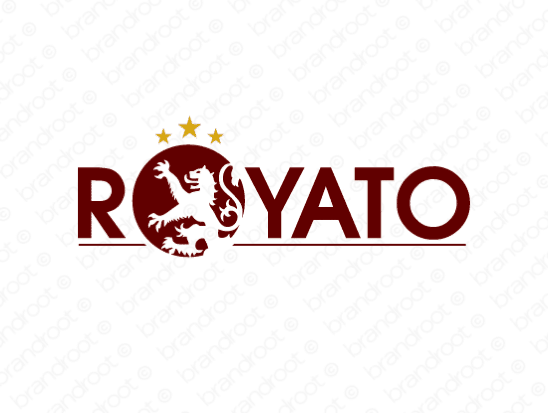Royato logo design included with business name and domain name, Royato.com.