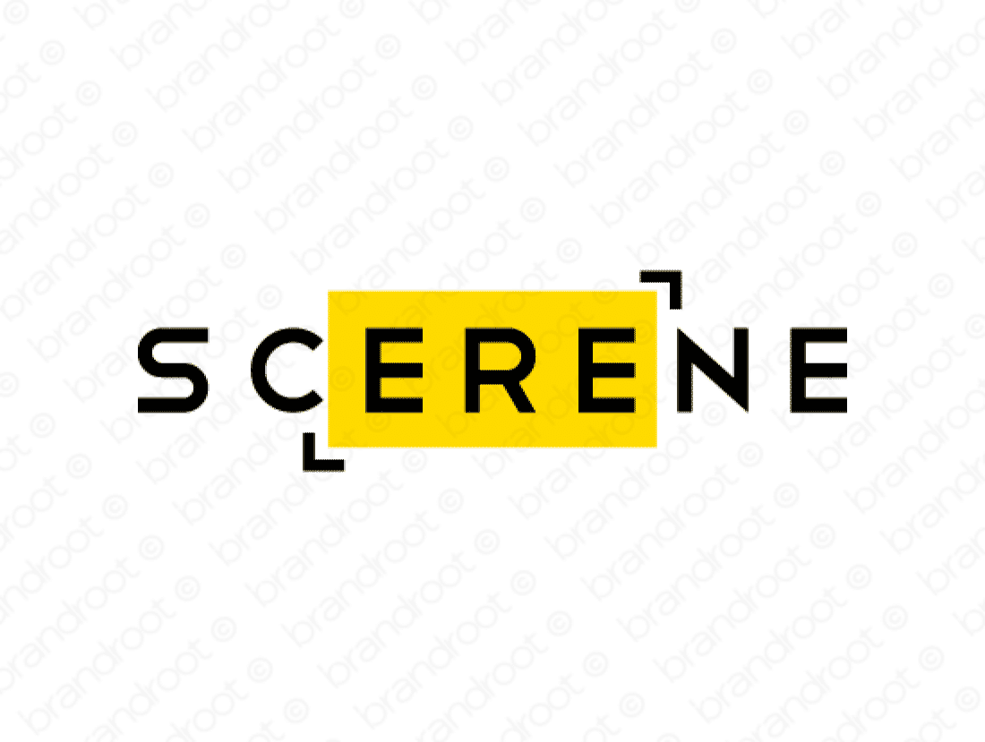 Scerene logo design included with business name and domain name, Scerene.com.