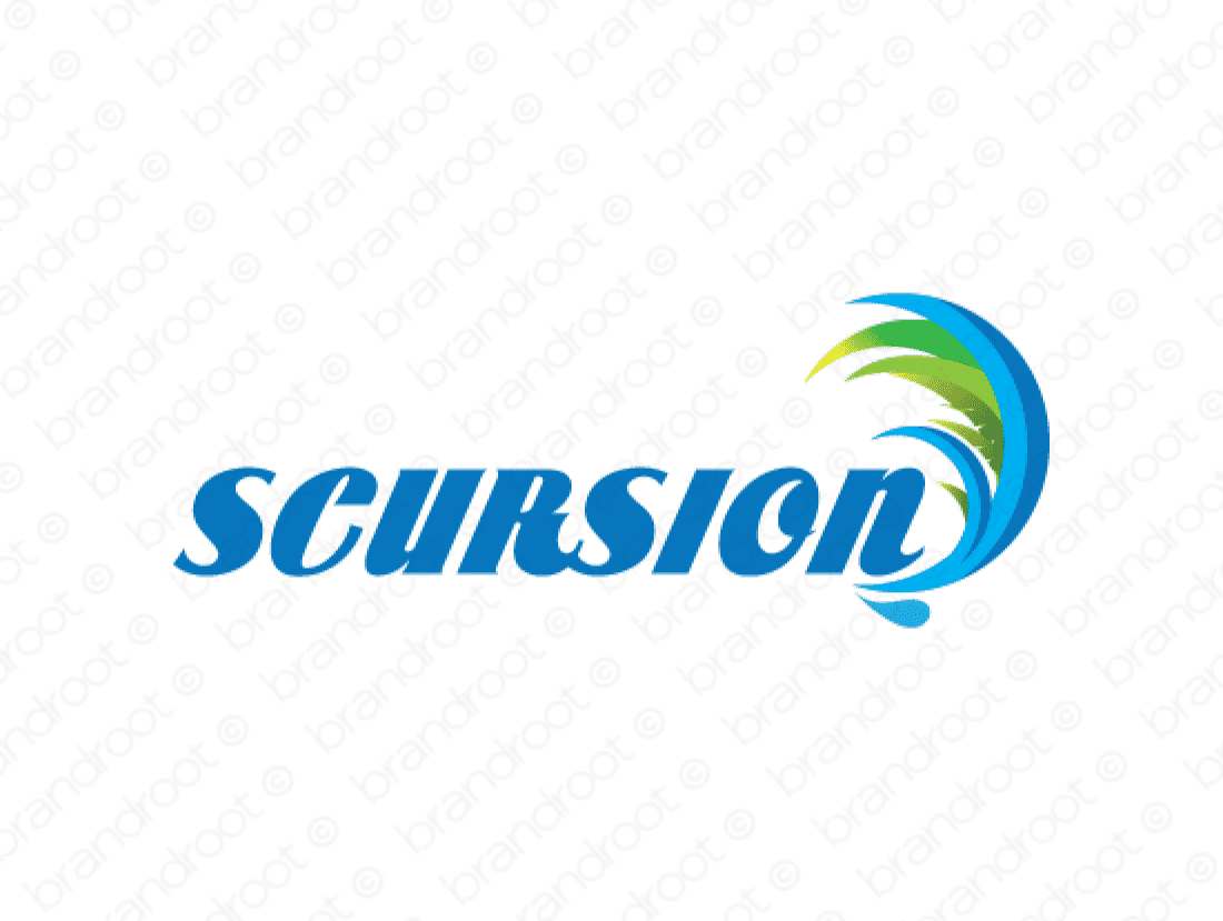 Scursion logo design included with business name and domain name, Scursion.com.