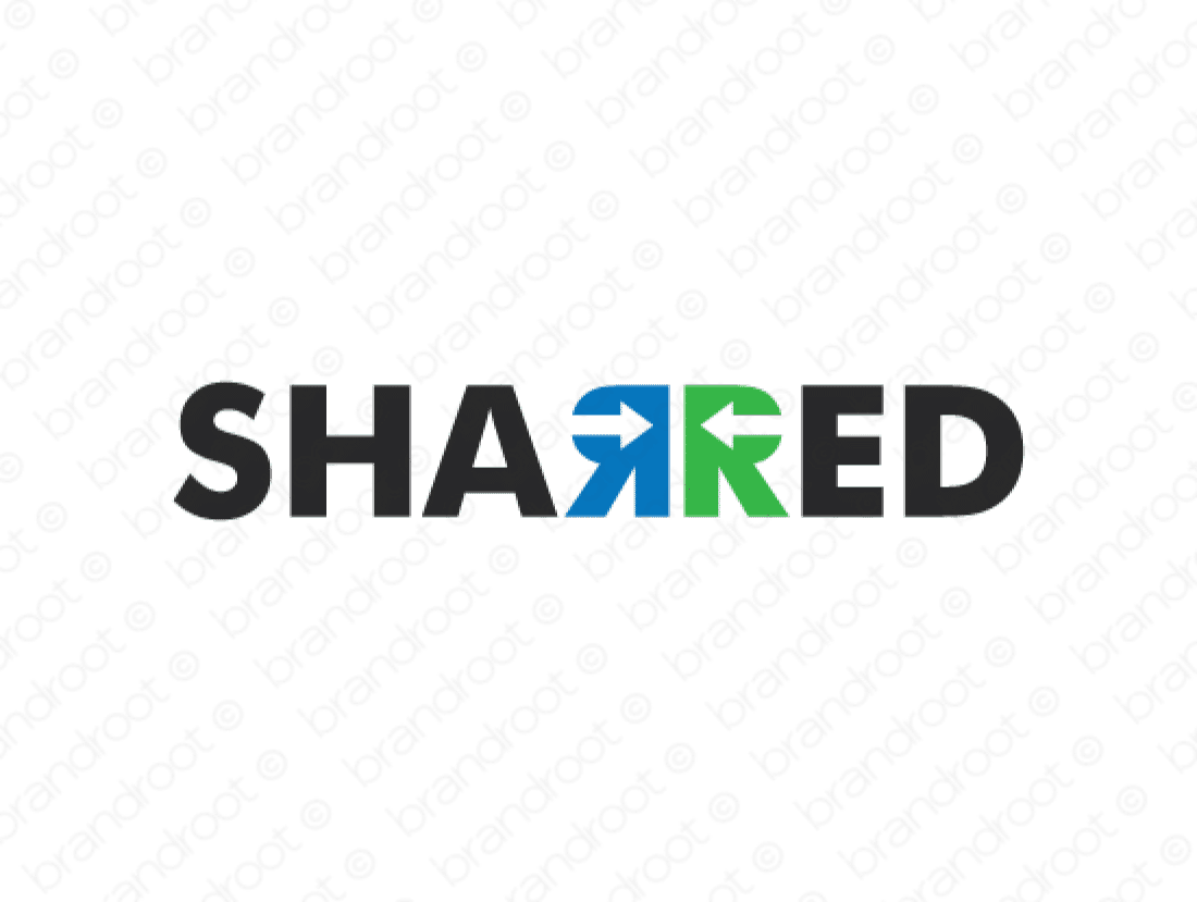 Sharred logo design included with business name and domain name, Sharred.com.