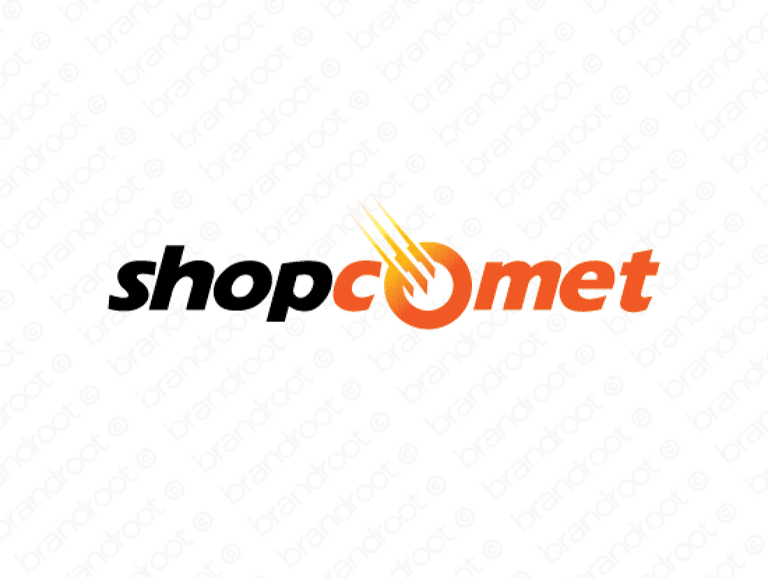 Shopcomet logo design included with business name and domain name, Shopcomet.com.