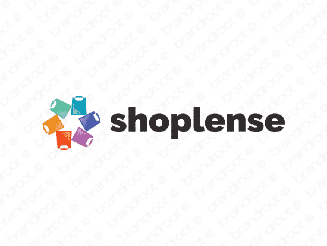 Shoplense logo design included with business name and domain name, Shoplense.com.