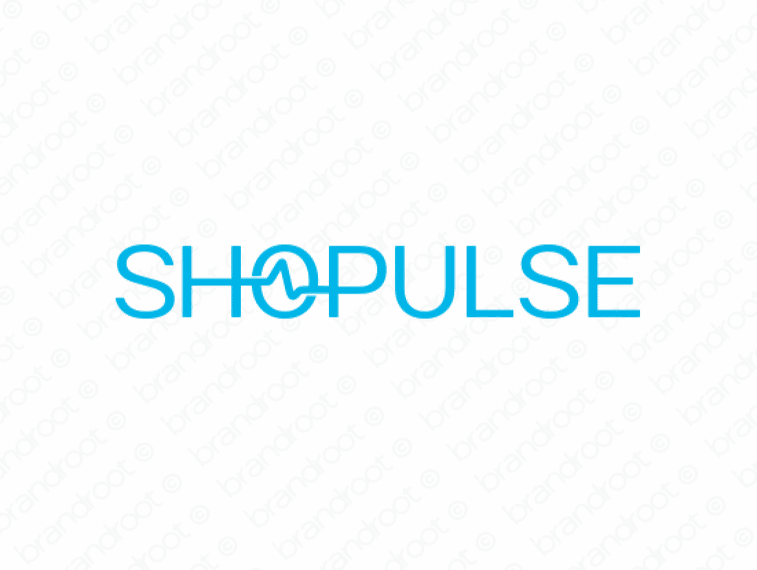 Shopulse logo design included with business name and domain name, Shopulse.com.