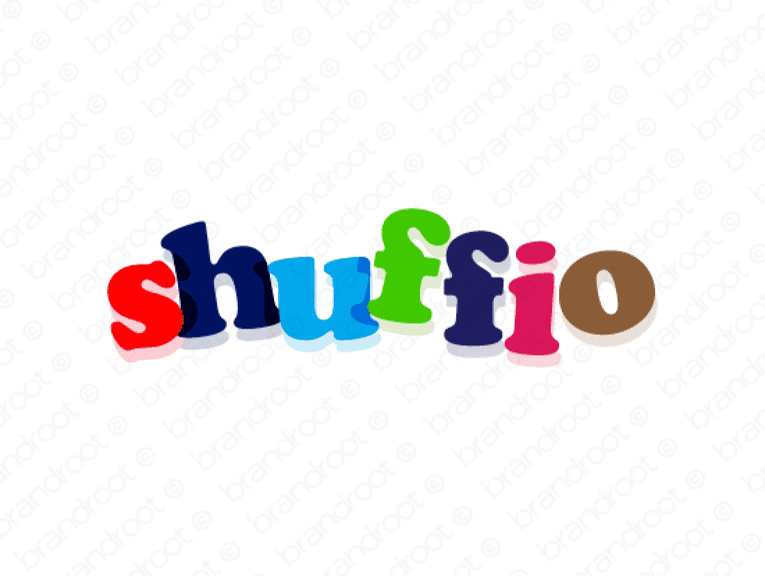 Shuffio logo design included with business name and domain name, Shuffio.com.