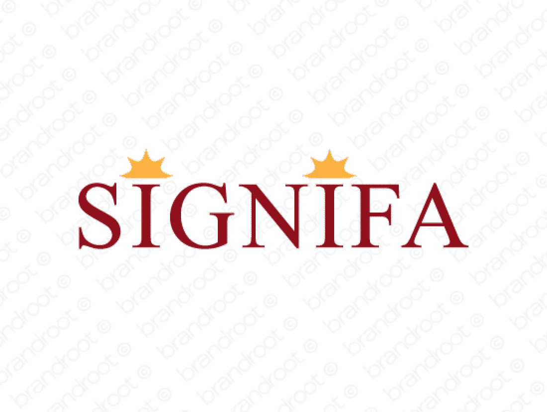Signifa logo design included with business name and domain name, Signifa.com.