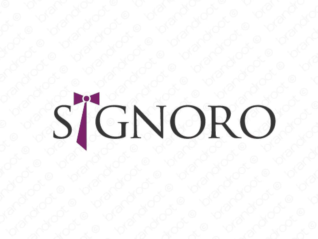 Signoro logo design included with business name and domain name, Signoro.com.
