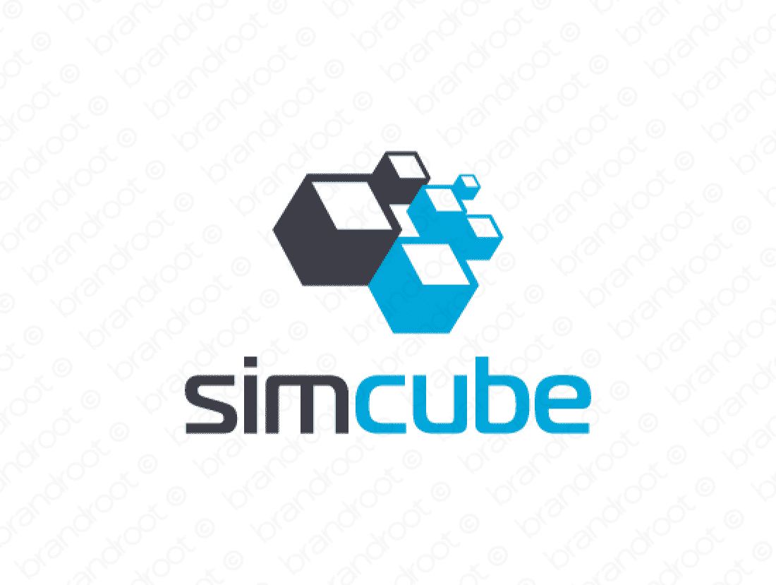 Simcube logo design included with business name and domain name, Simcube.com.