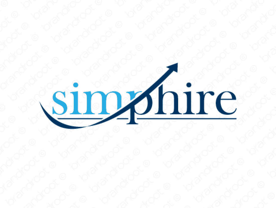Simphire logo design included with business name and domain name, Simphire.com.