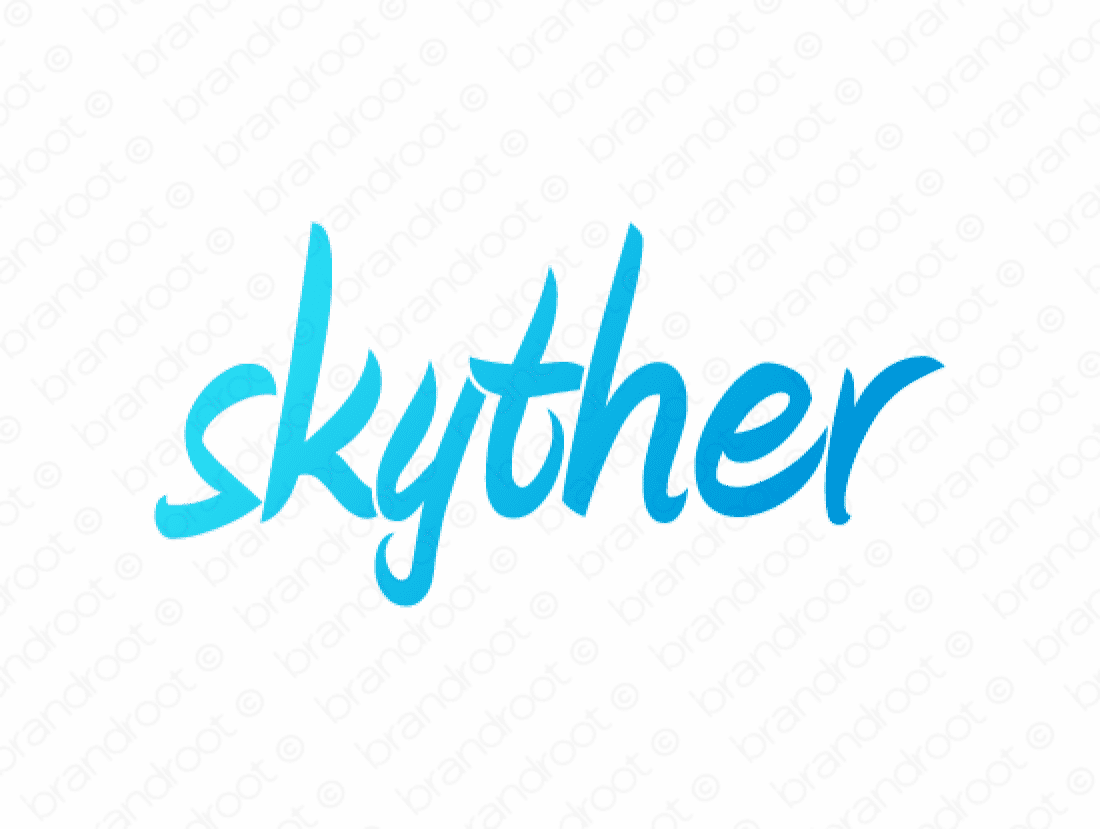 Skyther logo design included with business name and domain name, Skyther.com.