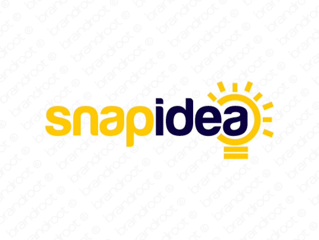 Snapidea logo design included with business name and domain name, Snapidea.com.