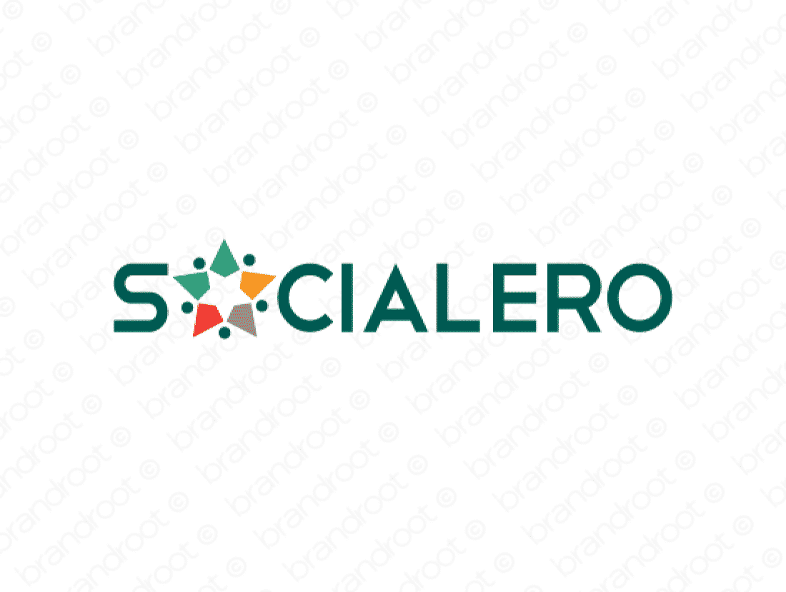 Socialero logo design included with business name and domain name, Socialero.com.