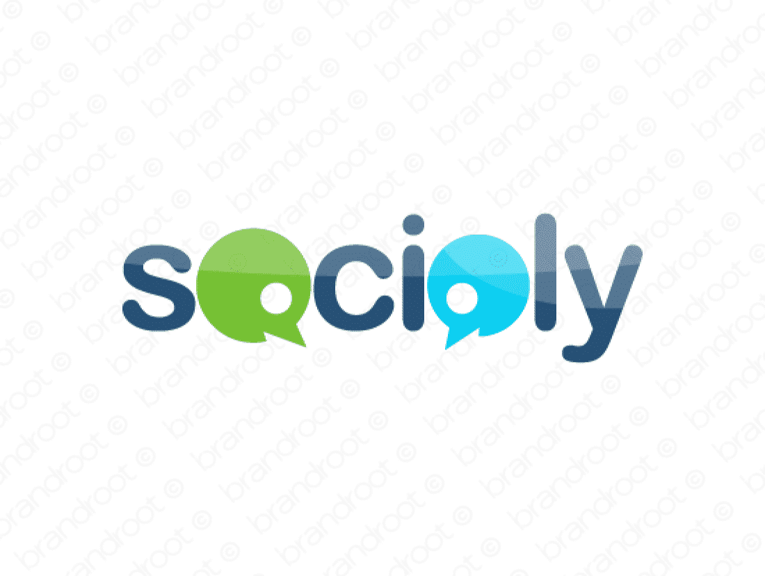 Socioly logo design included with business name and domain name, Socioly.com.