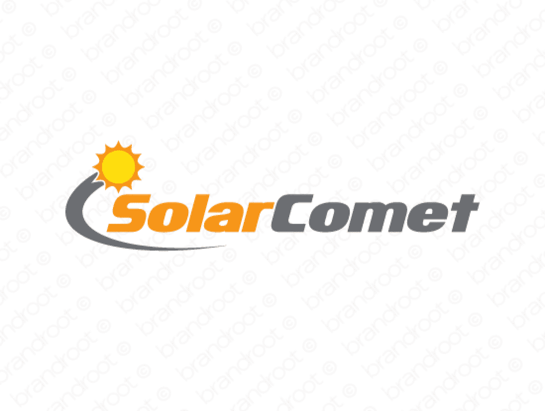 Solarcomet logo design included with business name and domain name, Solarcomet.com.