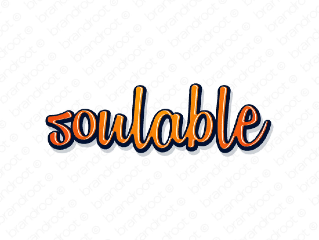 Soulable logo design included with business name and domain name, Soulable.com.