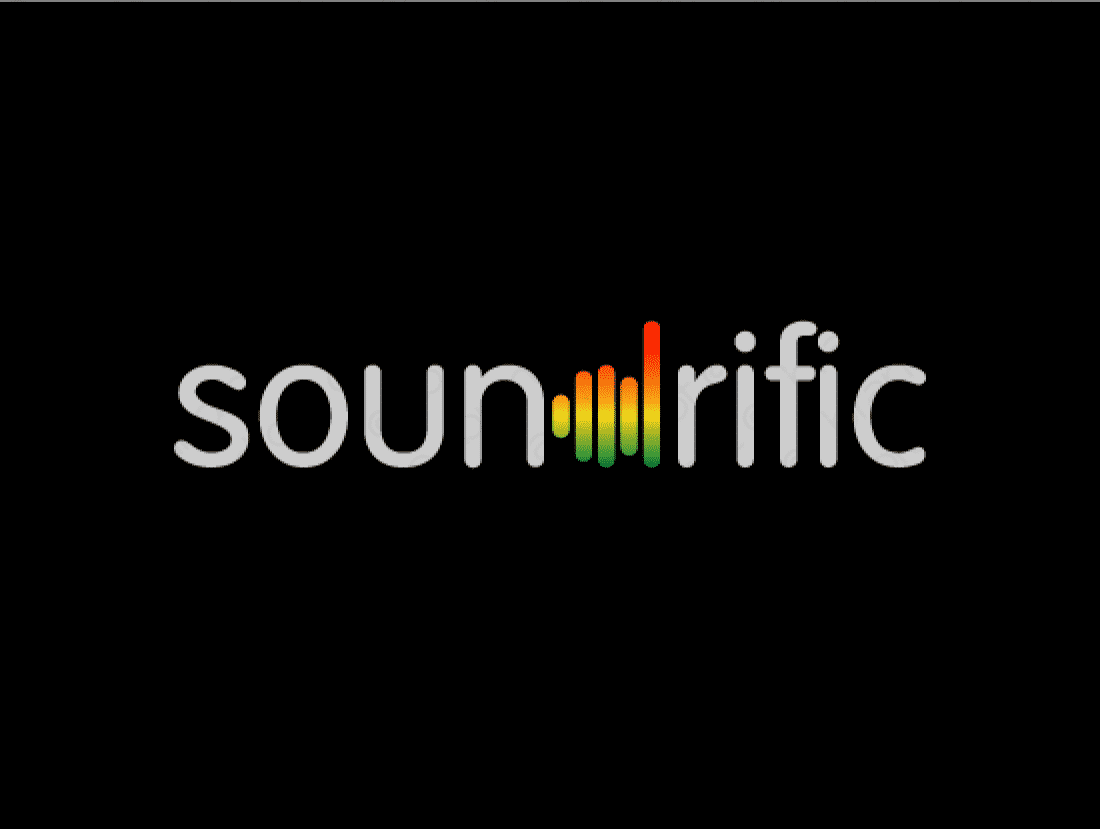 Soundrific logo design included with business name and domain name, Soundrific.com.