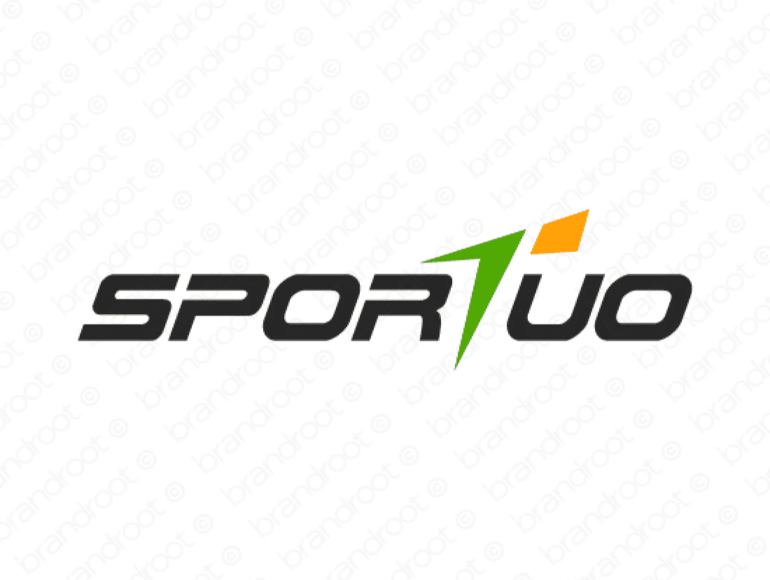 Sportuo logo design included with business name and domain name, Sportuo.com.
