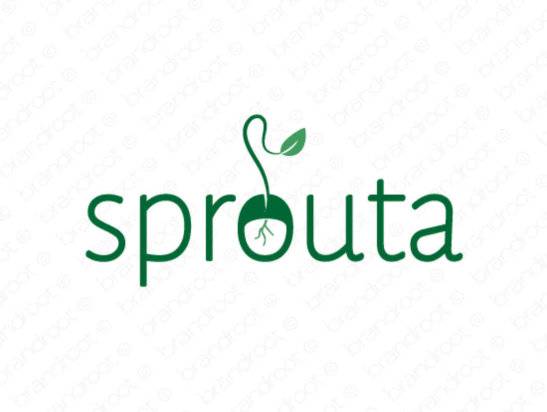 Sprouta logo design included with business name and domain name, Sprouta.com.