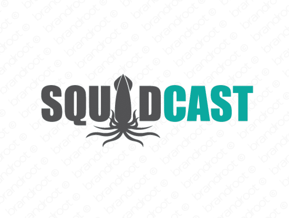 Squidcast logo design included with business name and domain name, Squidcast.com.