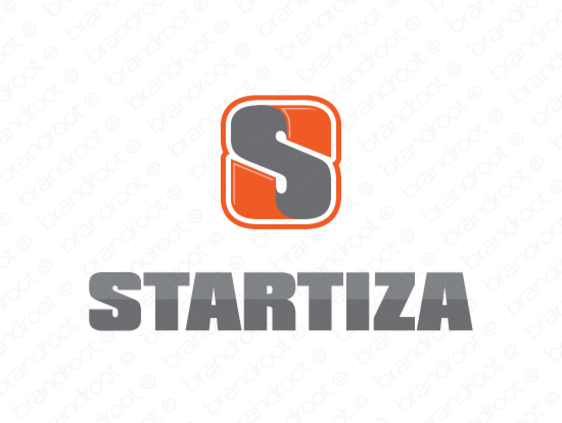 Startiza logo design included with business name and domain name, Startiza.com.