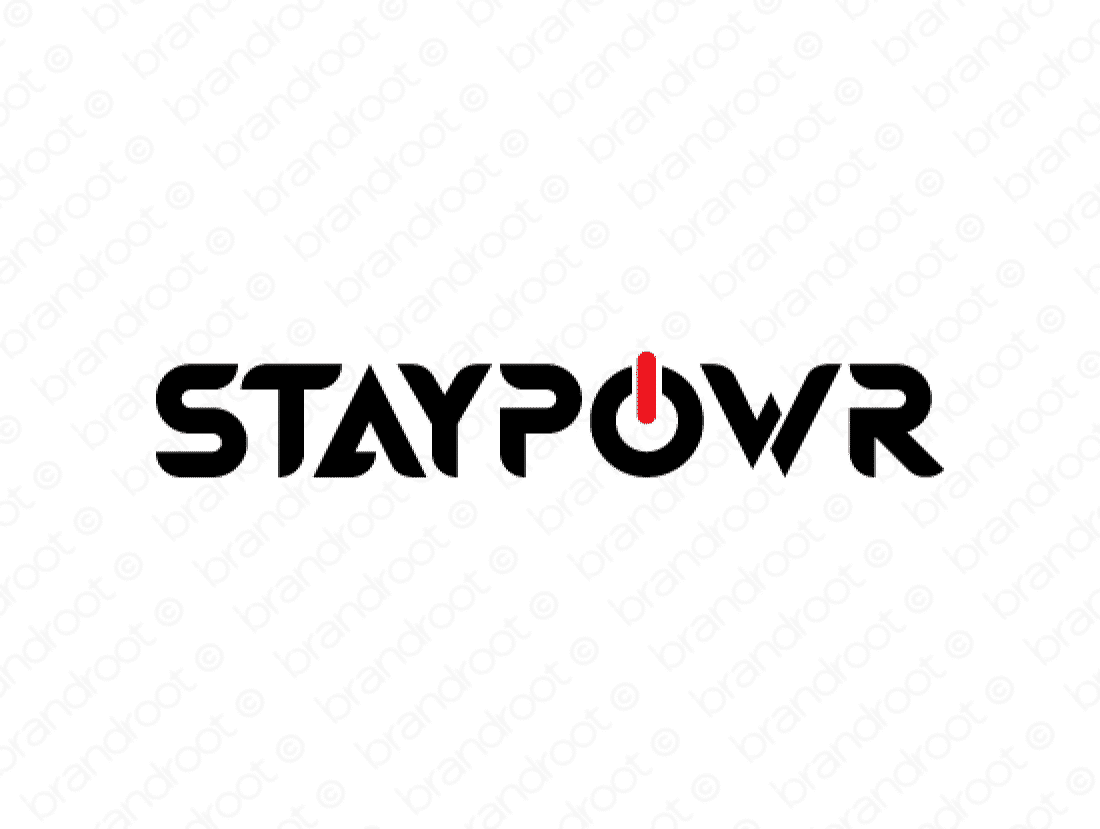 Staypowr logo design included with business name and domain name, Staypowr.com.