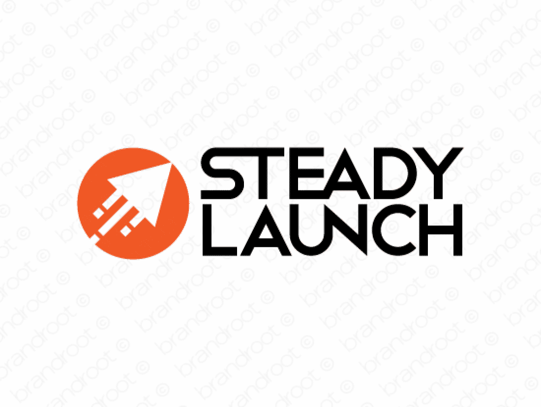 Steadylaunch logo design included with business name and domain name, Steadylaunch.com.