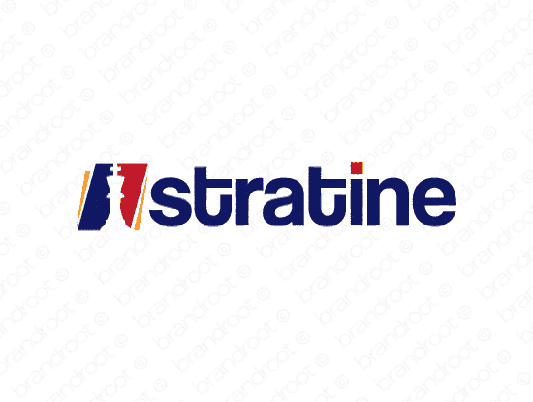 Stratine logo design included with business name and domain name, Stratine.com.