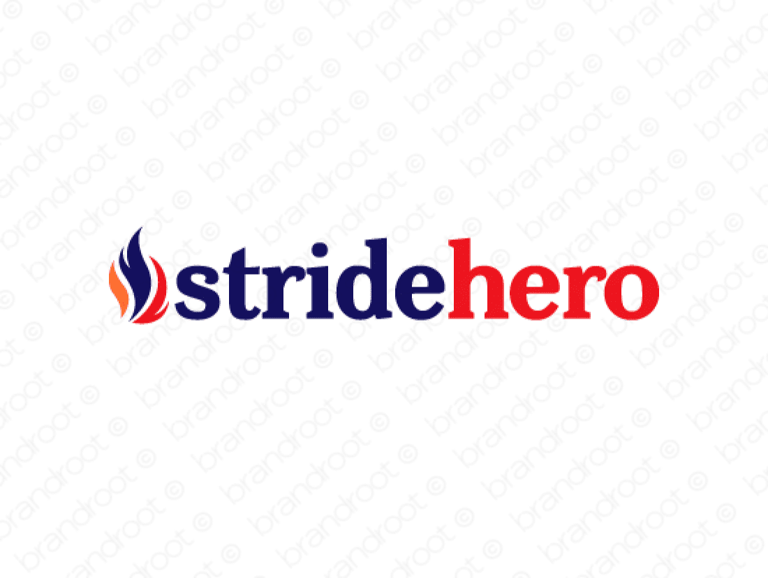 Stridehero logo design included with business name and domain name, Stridehero.com.