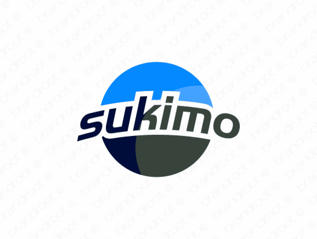 Sukimo logo design included with business name and domain name, Sukimo.com.
