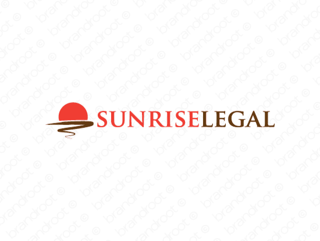 Sunriselegal logo design included with business name and domain name, Sunriselegal.com.