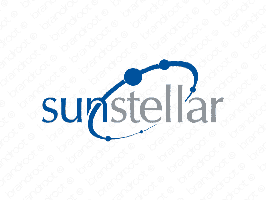 Sunstellar logo design included with business name and domain name, Sunstellar.com.
