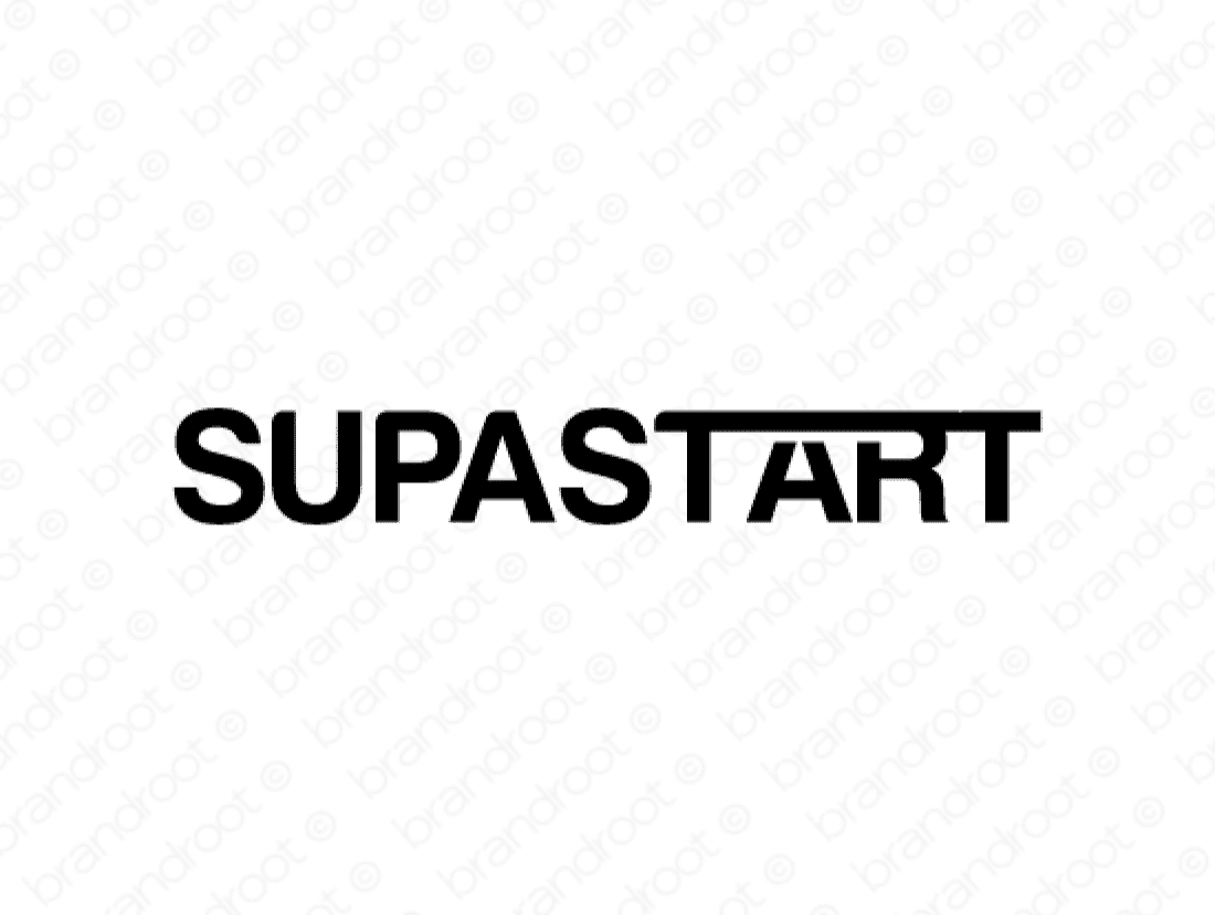 Supastart logo design included with business name and domain name, Supastart.com.