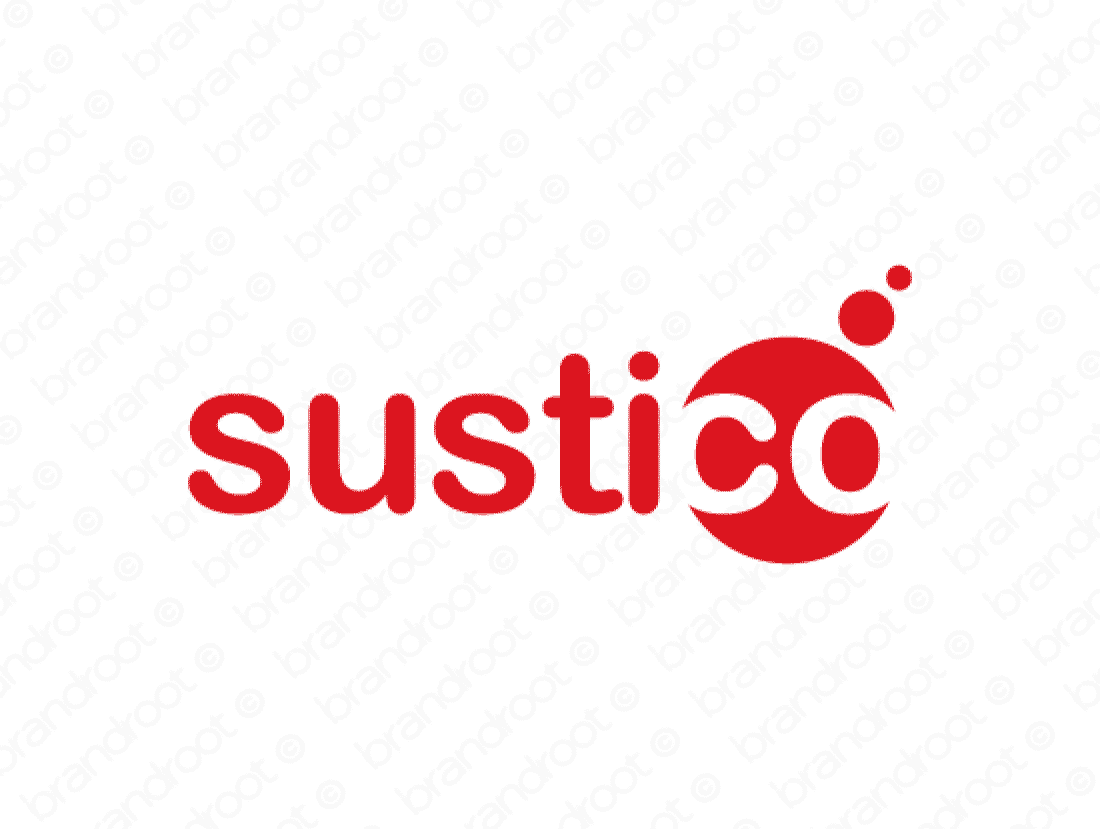 Sustico logo design included with business name and domain name, Sustico.com.