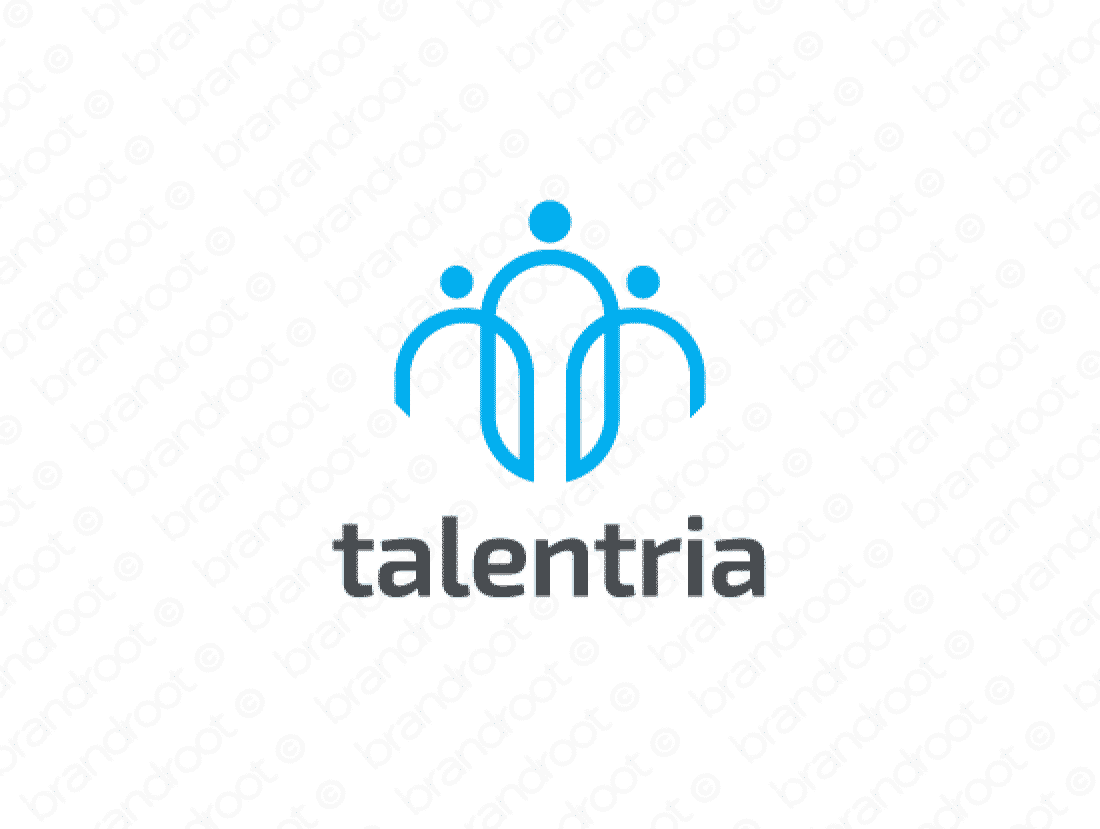 Talentria logo design included with business name and domain name, Talentria.com.