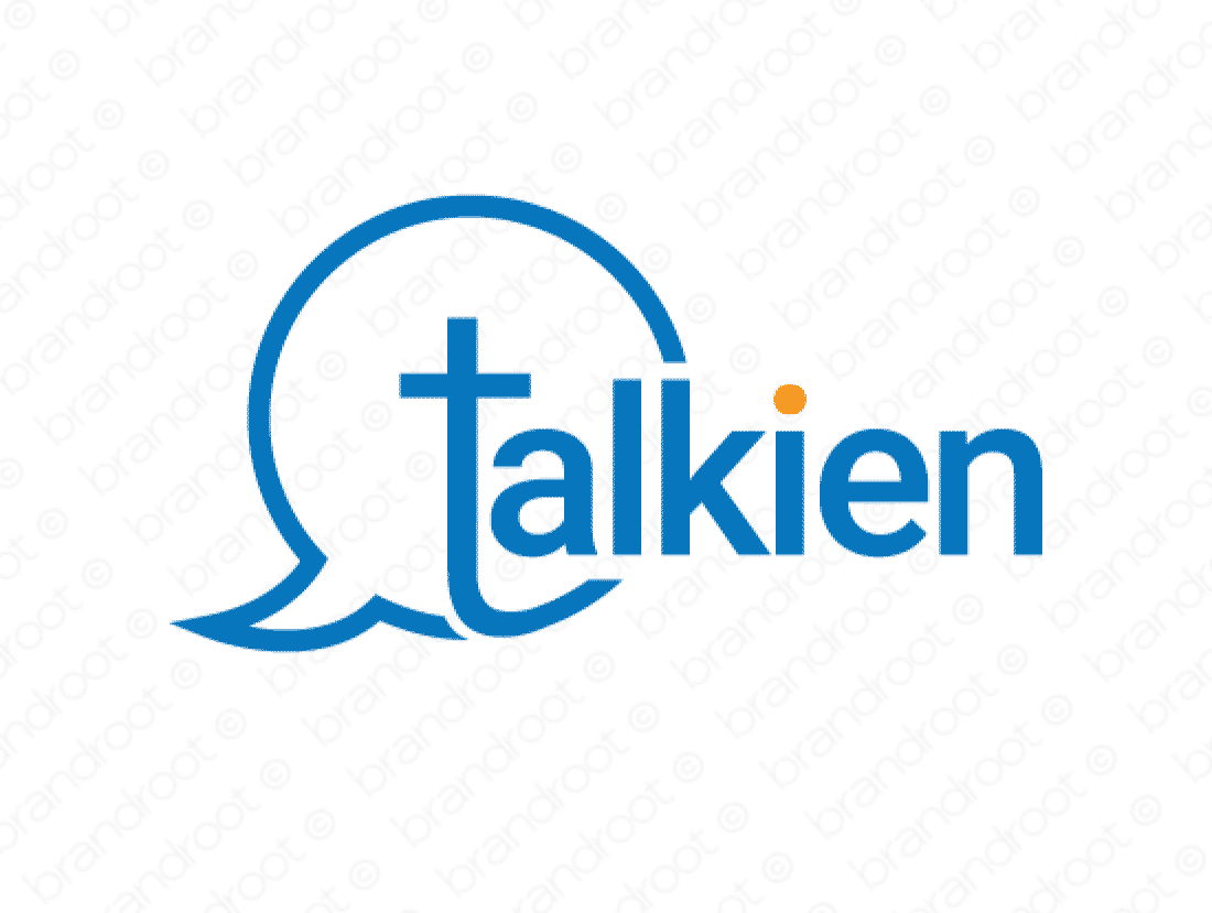 Talkien logo design included with business name and domain name, Talkien.com.