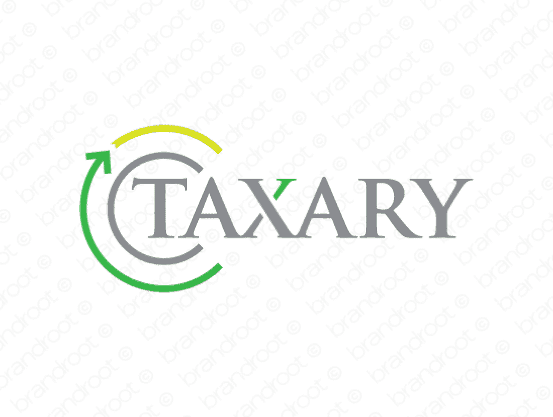 Taxary logo design included with business name and domain name, Taxary.com.