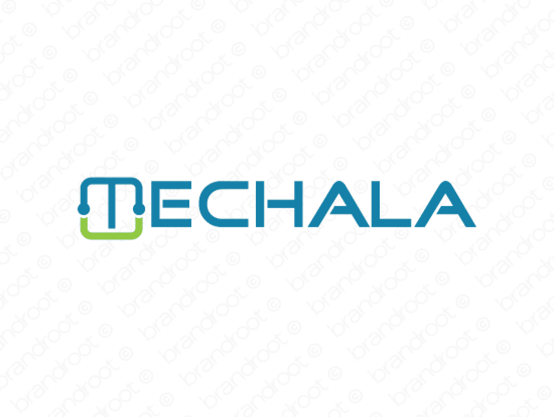 Techala logo design included with business name and domain name, Techala.com.