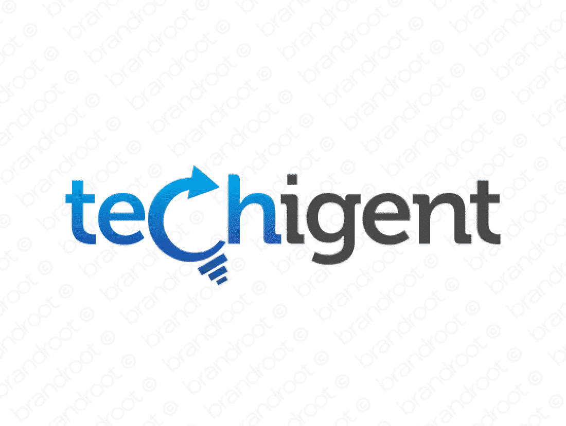 Techigent logo design included with business name and domain name, Techigent.com.