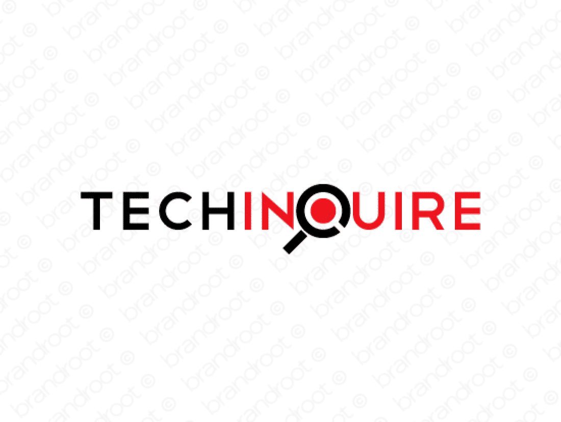 Techinquire logo design included with business name and domain name, Techinquire.com.