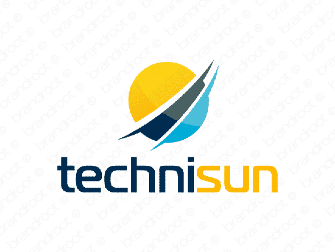Technisun logo design included with business name and domain name, Technisun.com.