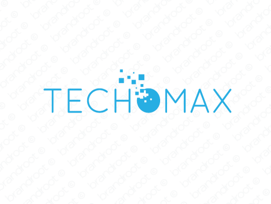 Techomax logo design included with business name and domain name, Techomax.com.