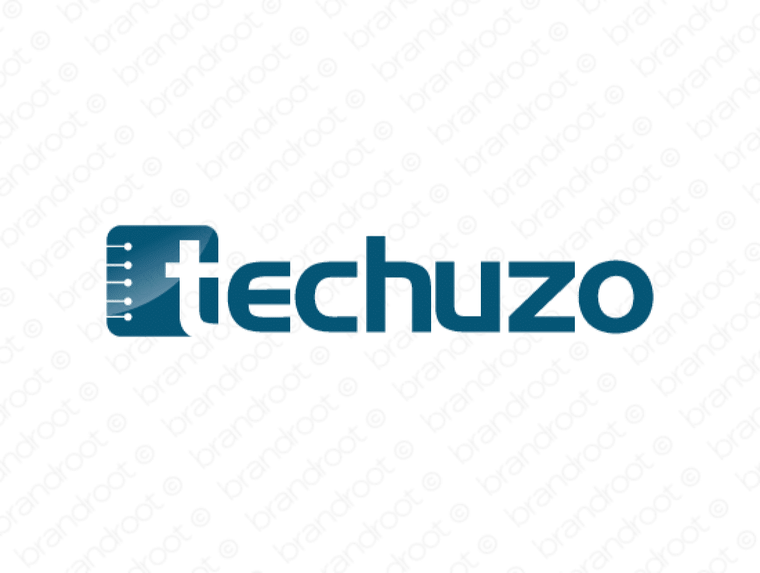 Techuzo logo design included with business name and domain name, Techuzo.com.