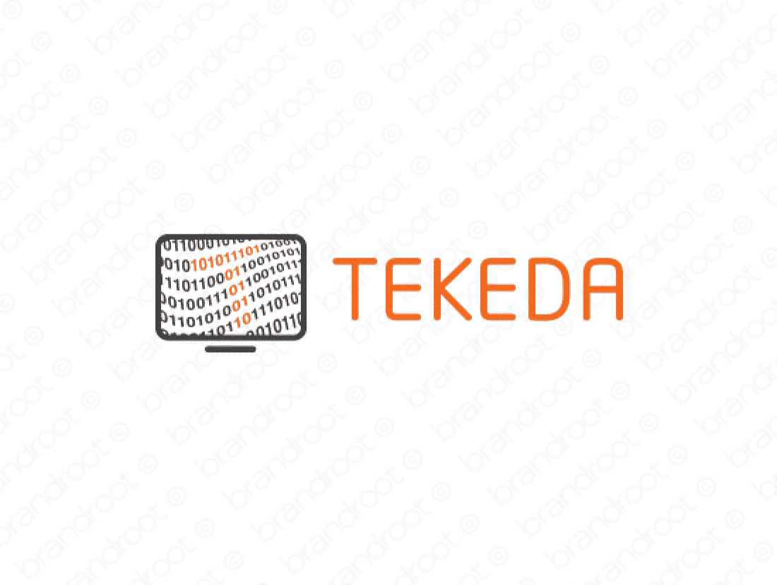 Tekeda logo design included with business name and domain name, Tekeda.com.
