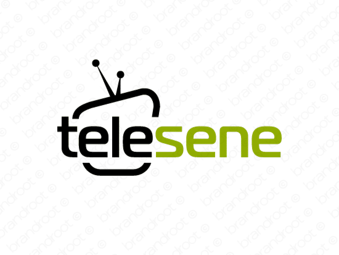 Telesene logo design included with business name and domain name, Telesene.com.