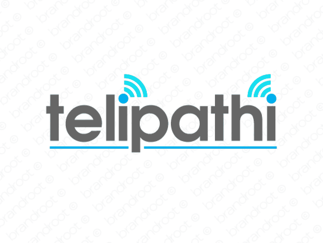 Telipathi logo design included with business name and domain name, Telipathi.com.
