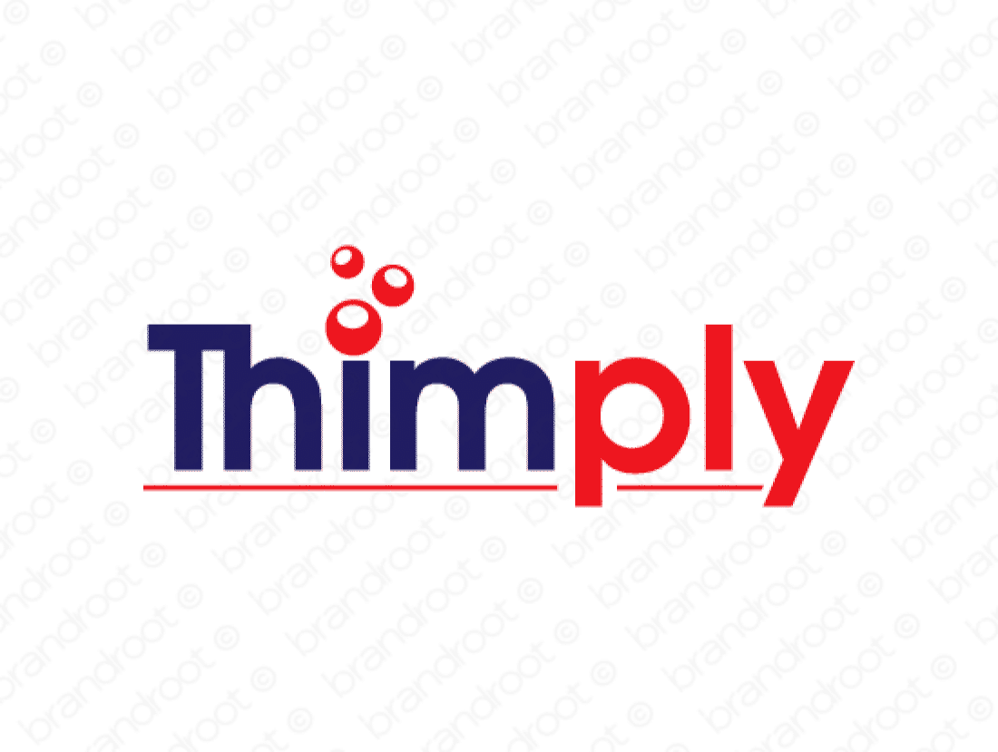 Thimply logo design included with business name and domain name, Thimply.com.