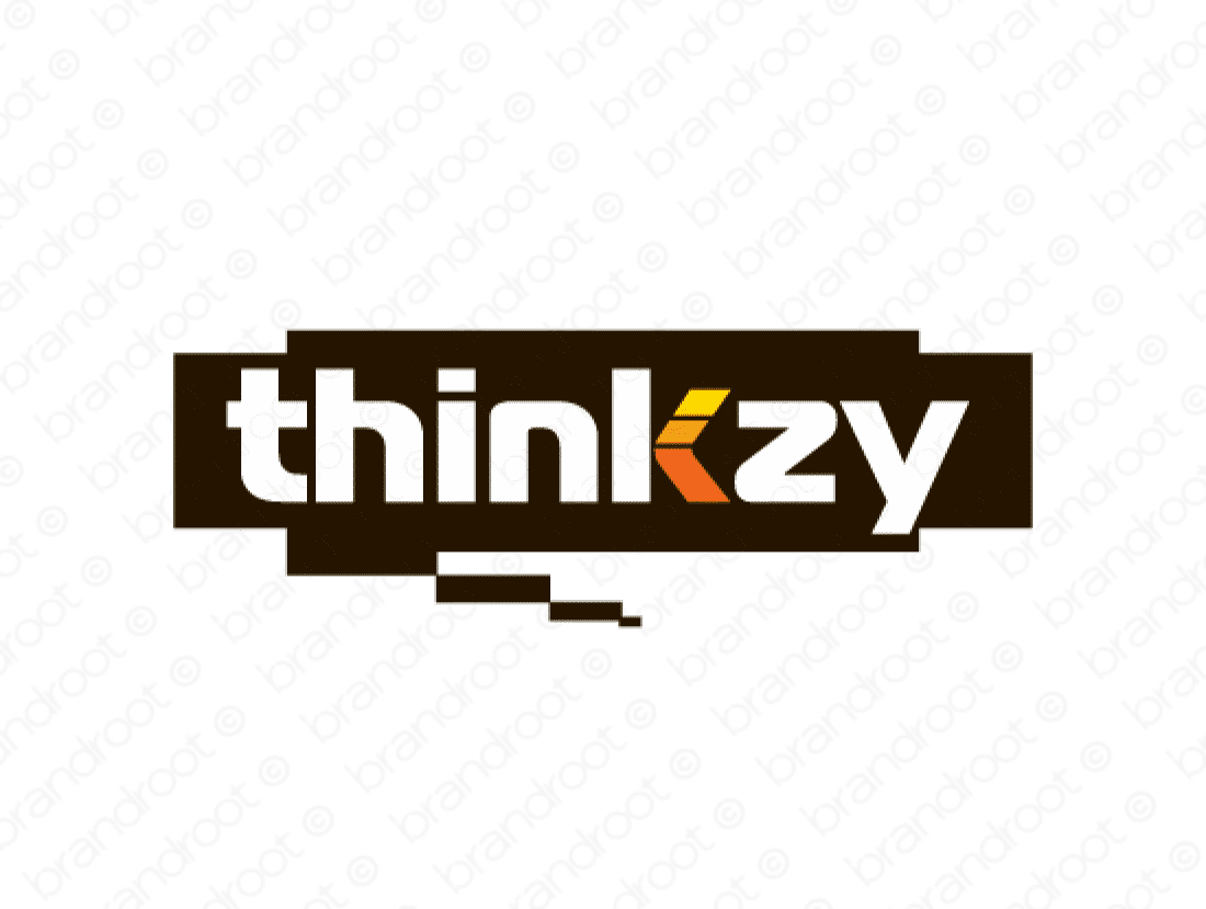 Thinkzy logo design included with business name and domain name, Thinkzy.com.