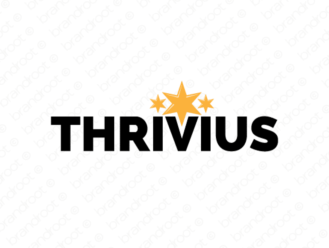 Thrivius logo design included with business name and domain name, Thrivius.com.