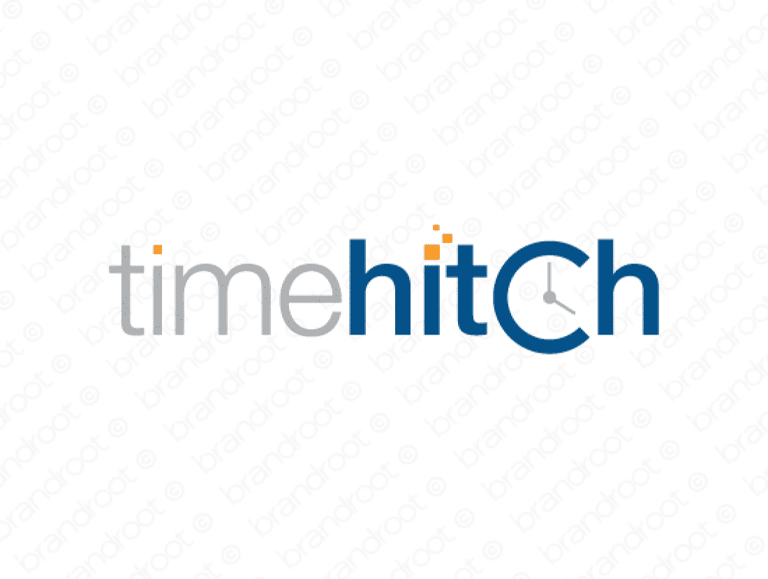 Timehitch logo design included with business name and domain name, Timehitch.com.