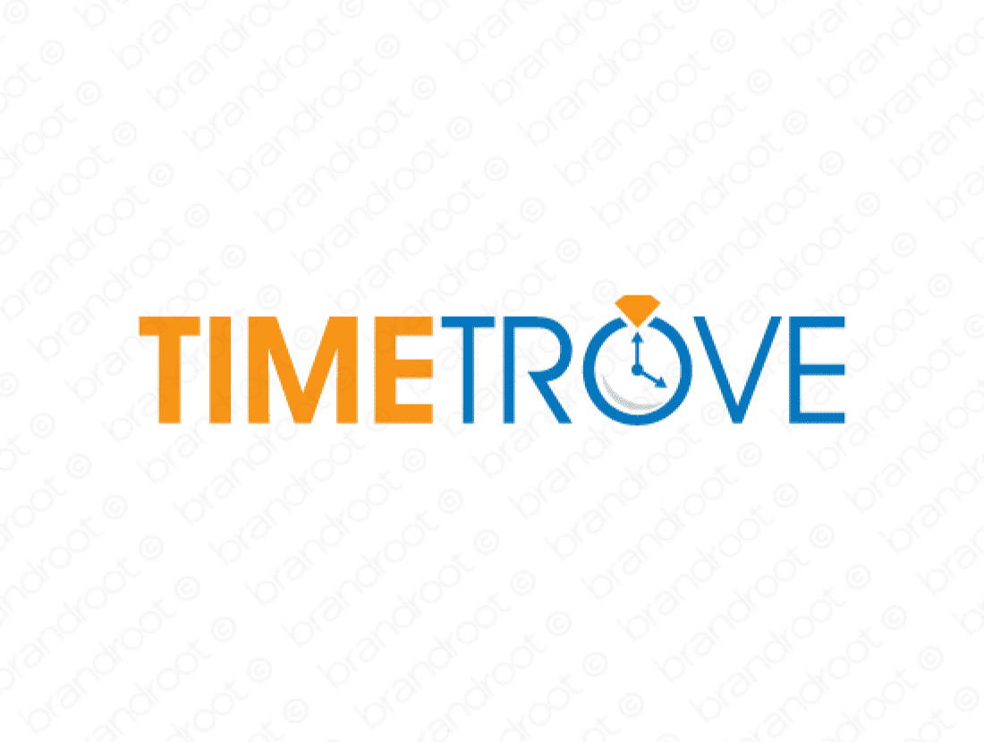 Timetrove logo design included with business name and domain name, Timetrove.com.
