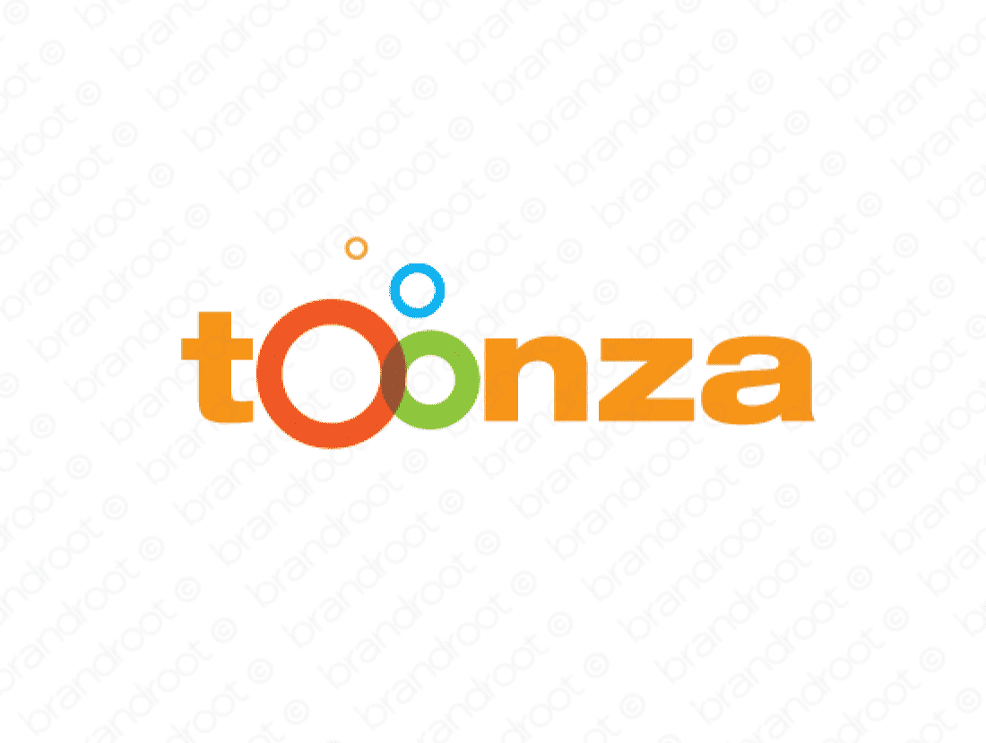 Toonza logo design included with business name and domain name, Toonza.com.